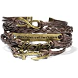 HITOP Jewelry Mens Womens Leather Bracelet, Anchor Love Will Charm Bangle, Brown