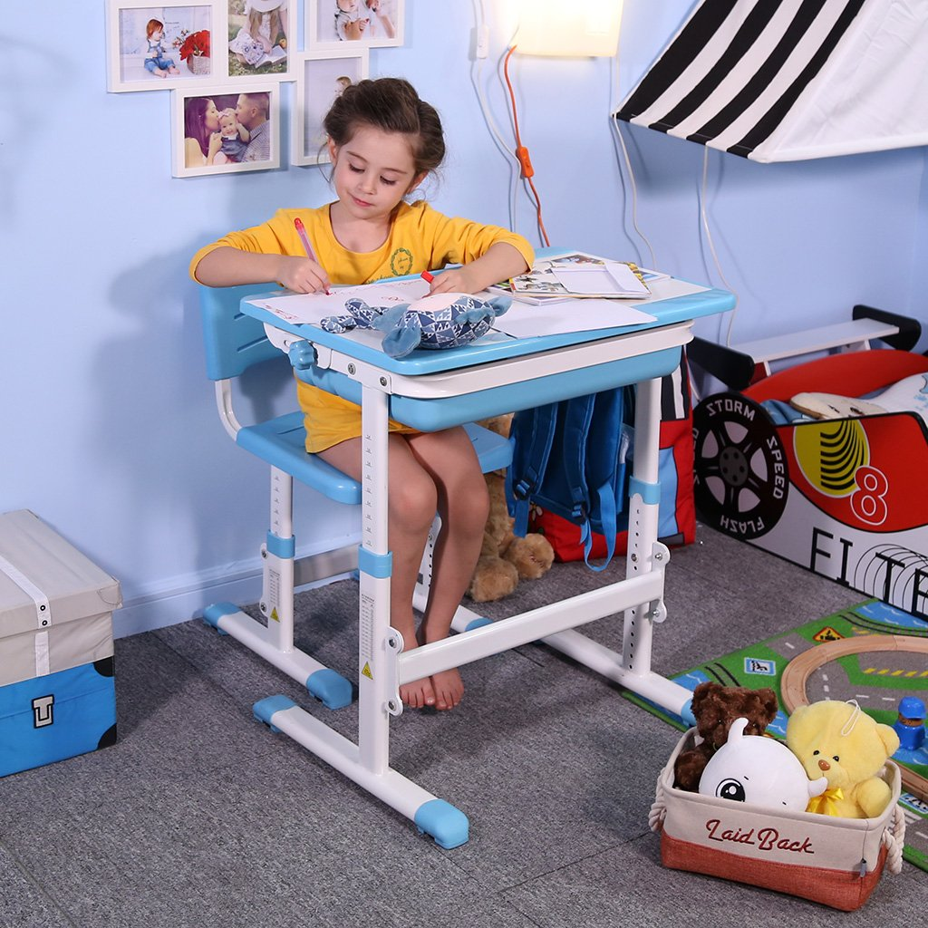 Slypnos Ergonomic Adjustable Children's Desk and Comfortable Chair Set Specially Designed for Children Age 3-14, Blue by Slypnos (Image #2)