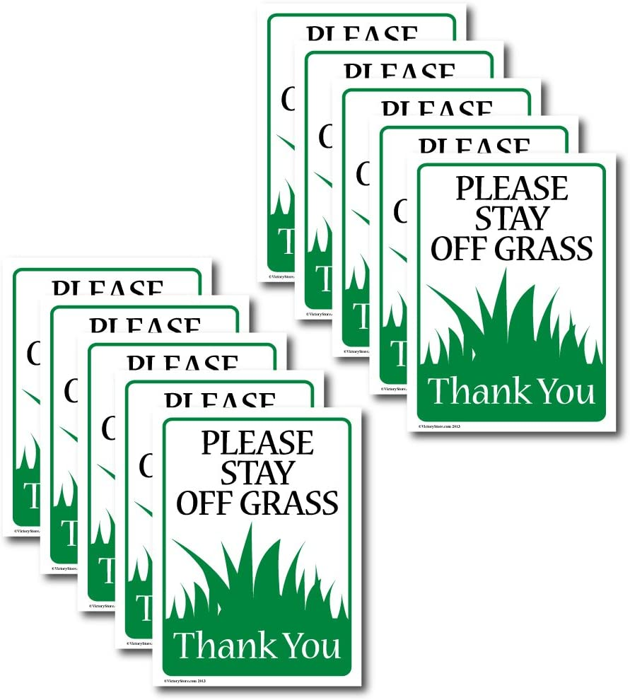 Please Stay Off The Grass Outdoor Sign Set of 10 VictoryStore Yard Sign Outdoor Lawn Decorations Size 9 Inch x 12 Inch