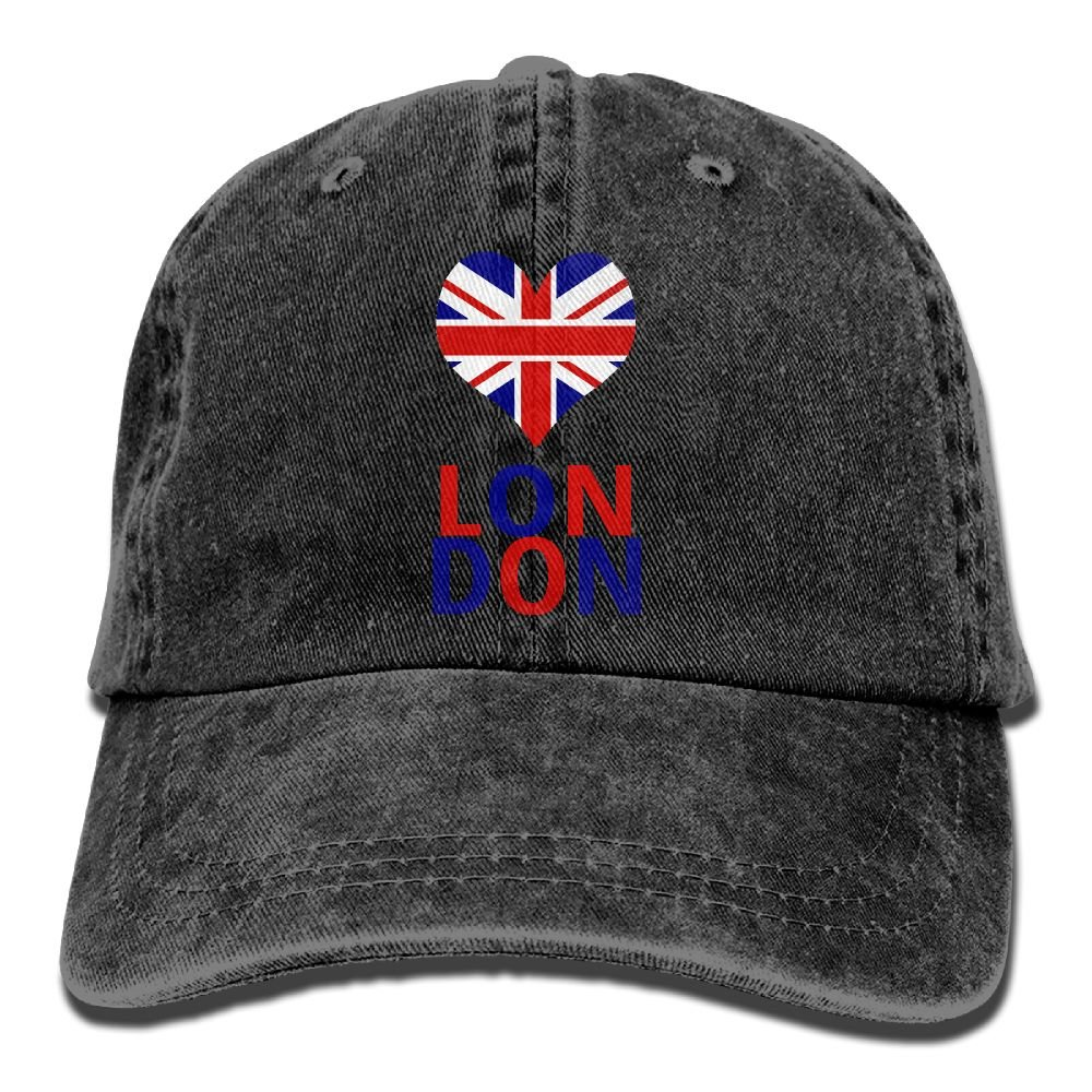 Men's/Women's Love London Yarn-Dyed Denim Baseball Cap Adjustable Dad Hat