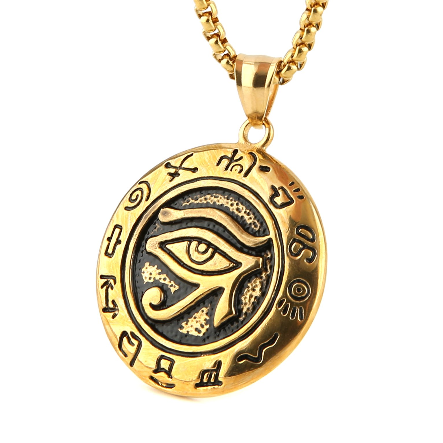 HZMAN Men's Stainless Steel Egypt Eye of Horus Symbol of Protection Pendant Necklace (Gold)