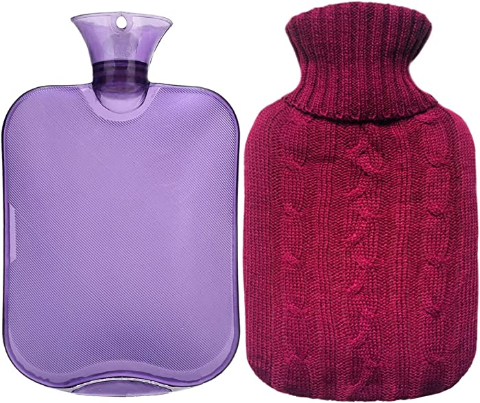Premium Classic Rubber Hot Water Bottle, Transparent Hot Water Bottle with Burgundy Knit Cover