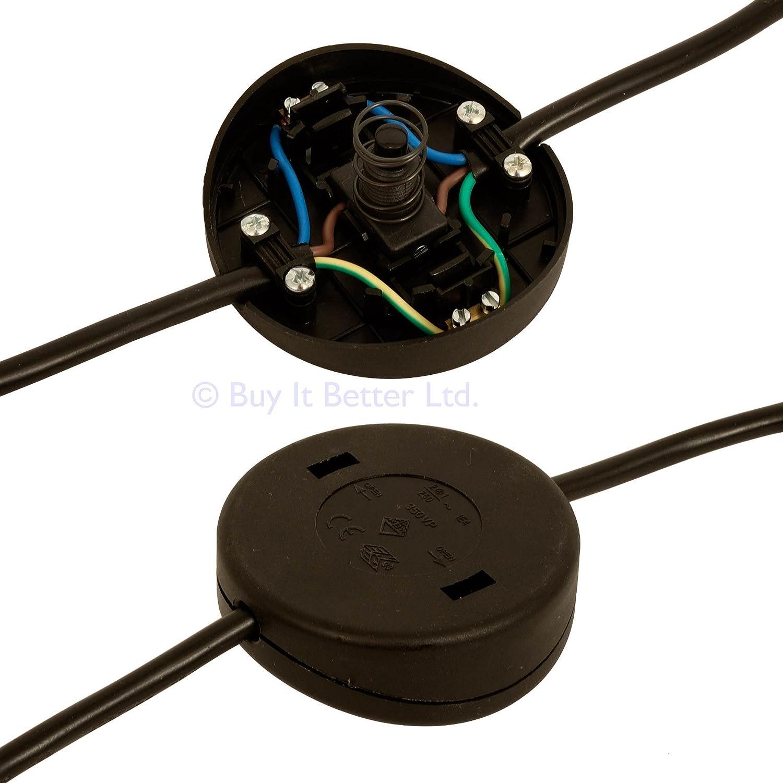In Line Foot Press Switch For Floor Lamp 2 Or 3 Core Flex Clear Alternatives Wiring Diagram Black 50mm Diameter Lighting
