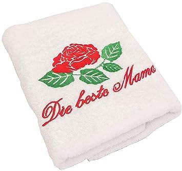 regalo para mamá Cumpleaños o tuerca Día – Toalla de mano (con un gestickten Rose