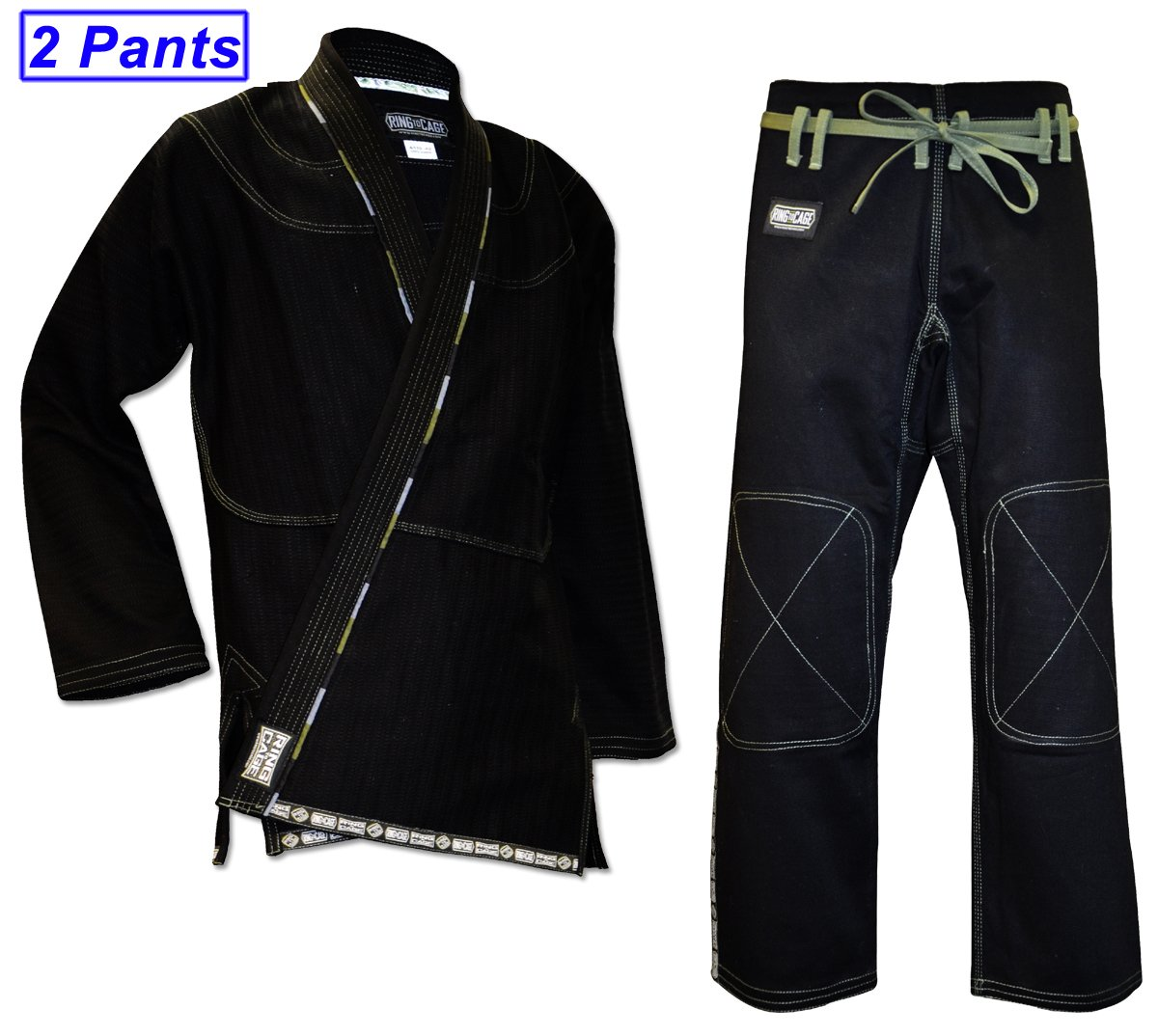 Ring to Cage ULTIMA Brazilian Jiu Jitsu Gi with 2 Pairs of Pants - Black (A2) by Ring to Cage