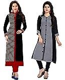 RAMDEV Women's Crepe Dress Material (RMD CHECKSGREY_Multicolor_Free Size)