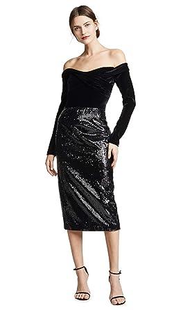 563b2e9d Marchesa Notte Women's Off The Shoulder Sequin Skirt Cocktail Dress, Black,  ...