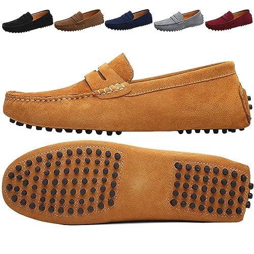 JIONS Mocasines para Hombre Casual Zapatos de Conducción Náuticos de Cuero Gamuza Mocasines Amarillo 45 EU: Amazon.es: Zapatos y complementos