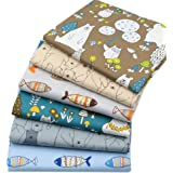 """6Pcs Cartoon Prined 18"""" x 22"""" Fat Quarters Fabric Bundles for Patchwork Quilting,Pre-Cut Quilt Squares for DIY Sewing…"""
