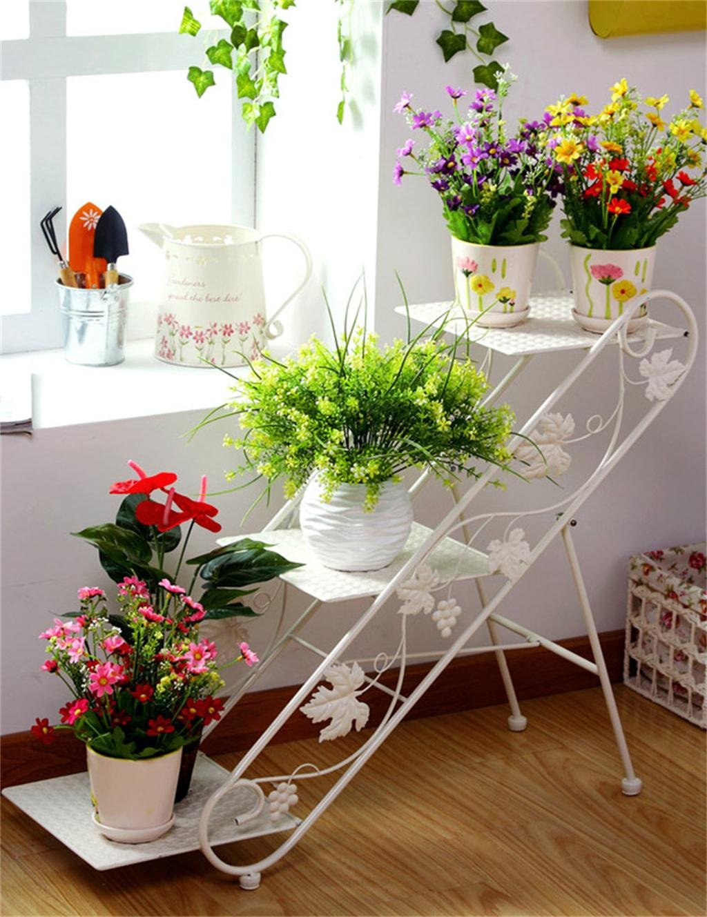 HZA Eisen 3-stöckiges Fußboden-Strichleiter-Flowerpot-Zahnstange, Betriebs-Standplatz, Blumen-Regal für Wohnzimmer, Innen-und im Freien Hochwertige Materialien ( farbe : Weiß )