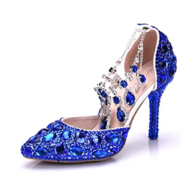 e94445d1f53f Minishion Womens Rhinestone Crystals Beading Ankle Chains Bridal Wedding  Shoes