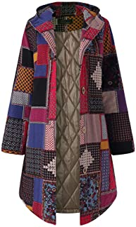 Chaofanjiancai Long Coat Women Hooded Long Sleeve Vintage Fleece Thicken Button Pocket Outwear