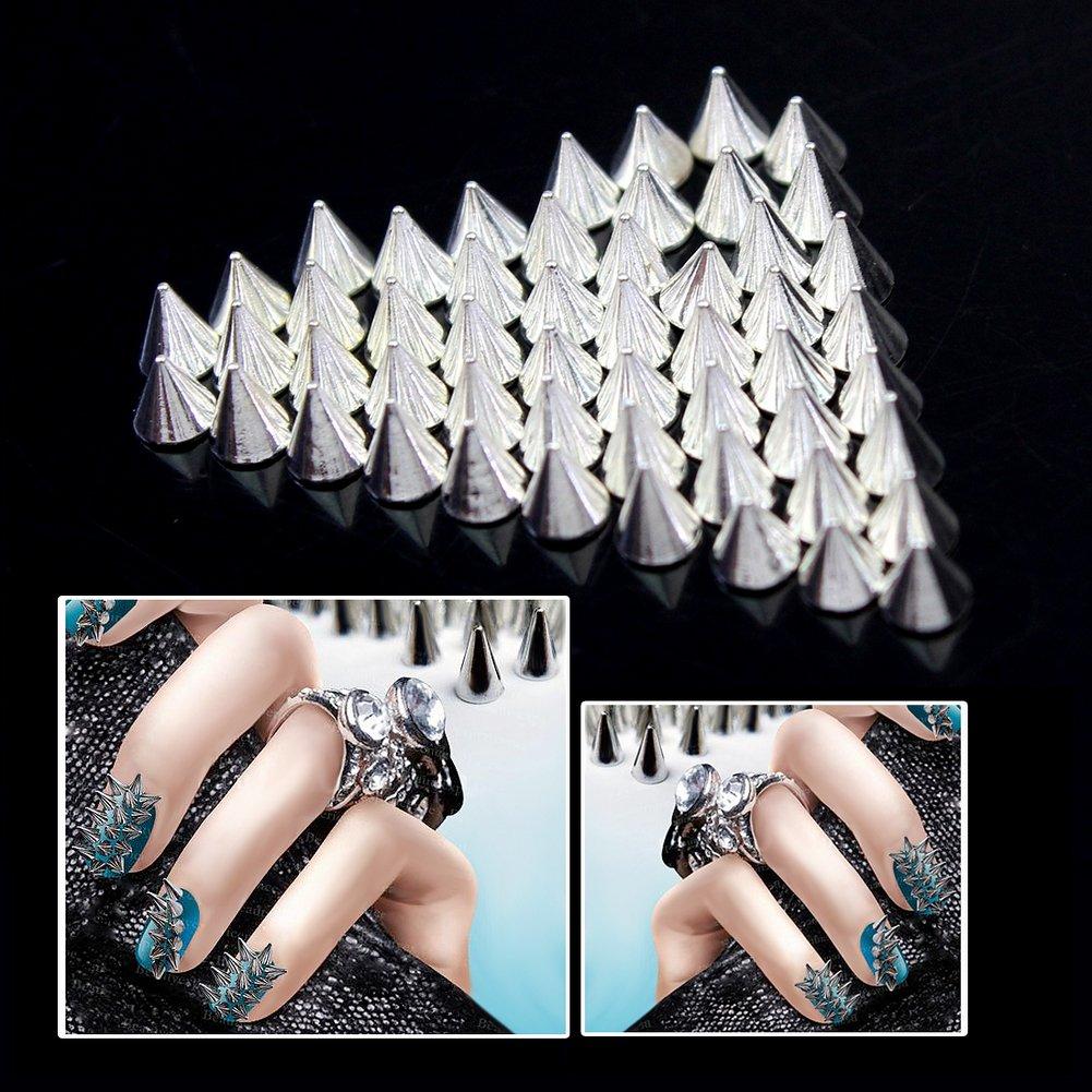 Amazon.com: AllCraft 50pcs Nail Art Spikes 3.5mm Silver Punk Tiny ...