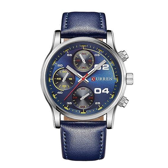 Big Dial Men CURREN Relojes Top Luxury Brand Reloj de pulsera militar de cuarzo amarillo Reloj para hombre Amarillo: Amazon.es: Relojes