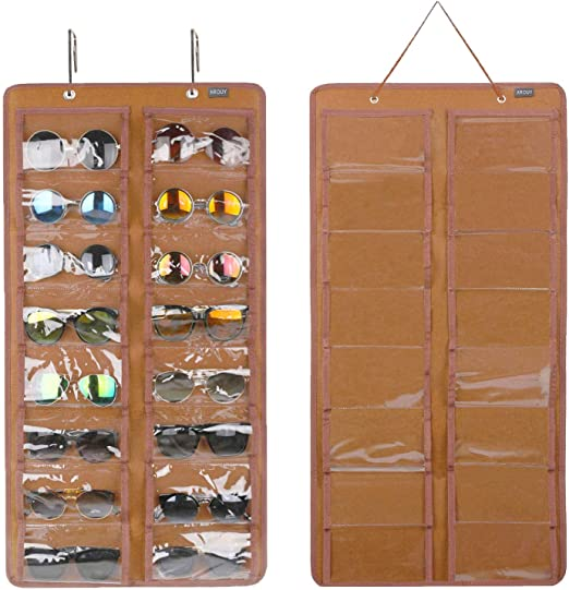 16 Felt Slots Sunglass Organizer Holder with Metal Hook and Sturdy Rope Hanging Dust Proof Wall Pocket Glasses Organizer Blue AROUY Sunglasses Organizer Storage