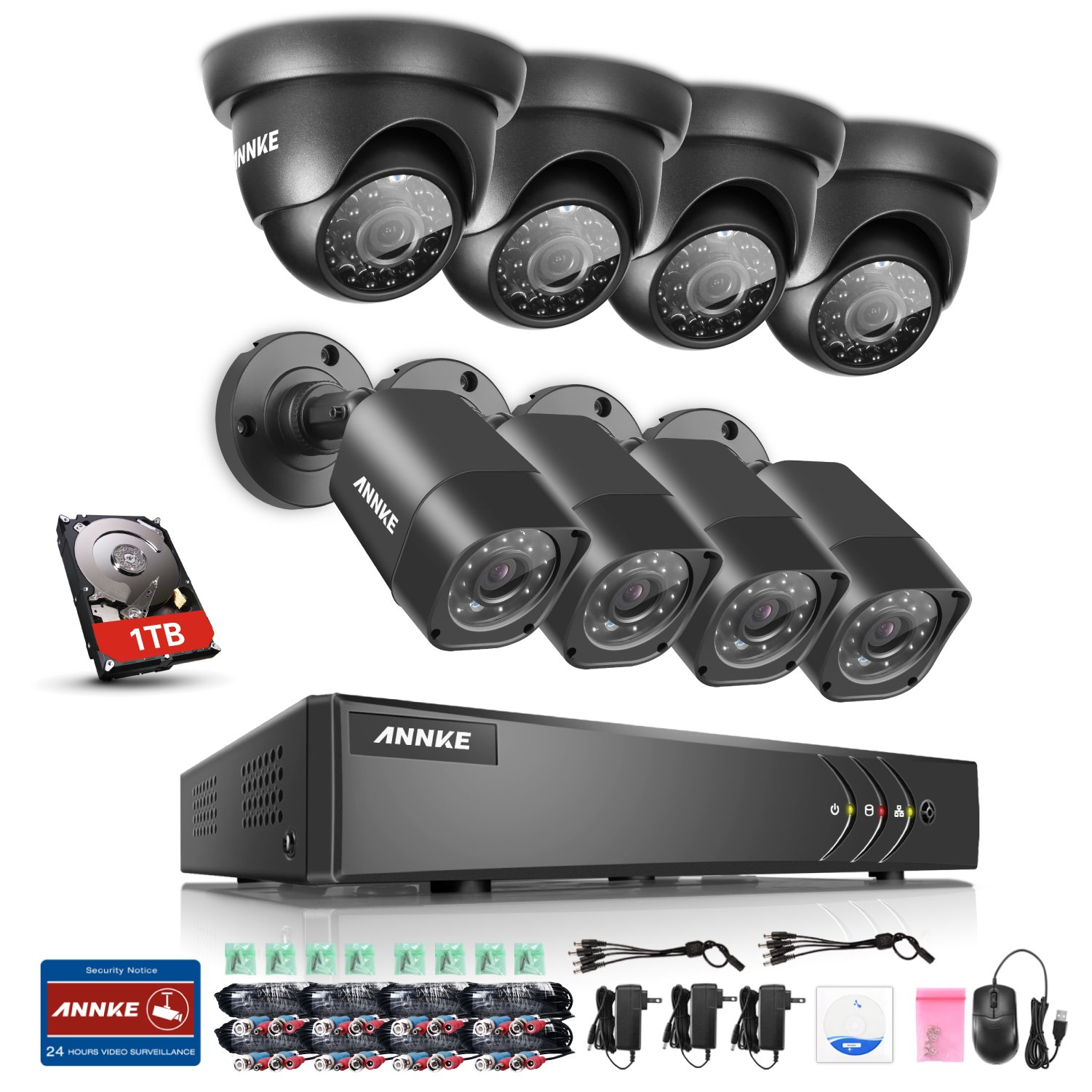Annke 8CH TVI-720P DVR 1080P NVR Recorder with 1TB Hard Drive Included and (8)HD 1280tvl 1.0MP Weatherproof Security Cameras, Easy Remote Web / Mobile Access