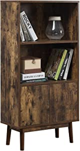 Retro Bookcase, Storage Cabinet, 2 Tier Bookcase, Storage Shelves with Door, Display Furniture in Living Room, Office, Kitchen, Dining Room, Rustic Brown