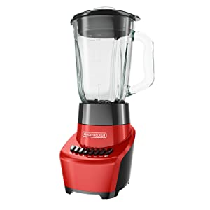 BLACK+DECKER FusionBlade Blender with 6-Cup Glass Jar, 12-Speed Settings, Red, BL1110RG (Renewed)