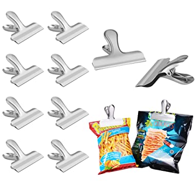 Heavy Duty Chip Bag Clips Set - Perfect for Air Tight Seal Food Bags and Chip Bags, NO More Sharp Edges, LEYOSOV 3 Inches Wide Stainless Steel Chip Clips, 8 Pack