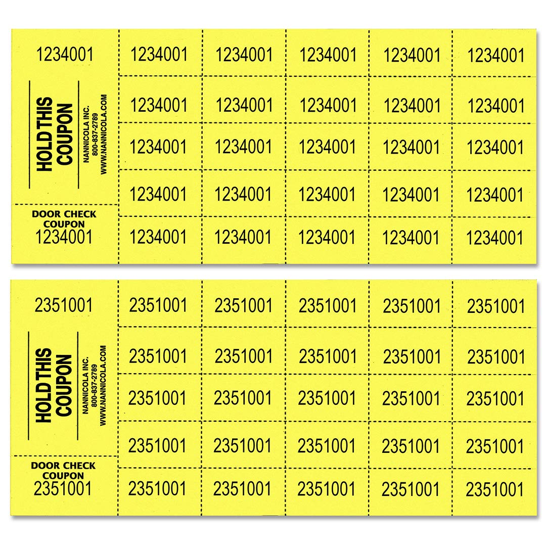 Auction Tickets - 1000 Sheets - Assorted Colors (Yellow) by Nannicola Inc.
