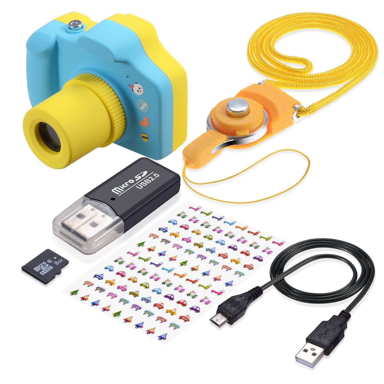 TURN RAISE Kids Digital Camera Mini 1.5 Inch Screen Children's Camera with Memory Card (blue)