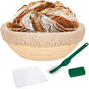 SNW 10 Inch Bread Proofing Basket - Banneton Proofing Basket + Cloth Liner + Dough Scraper + Bread Lame - Sourdough Basket Set for Professional and Home Bakers Artisan Bread Making