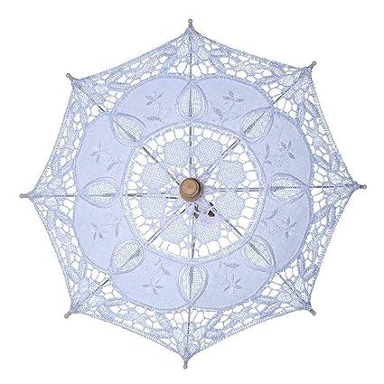 Ocamo Paraguas de Encaje Vintage para Novia, sombrilla para Mujer, Paraguas para decoración de