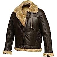 RAF Aviator Brown Bomber Real Shearling Real Sheepskin Leather Flight Jacket