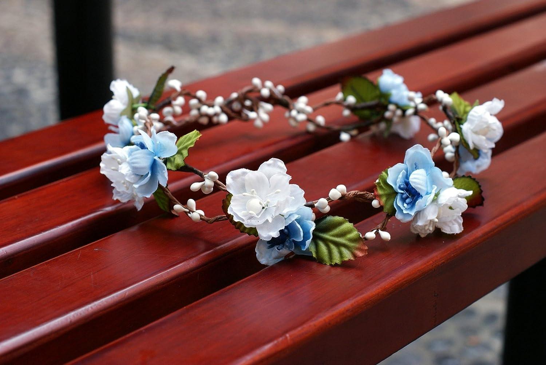 Amazon bridal flower crown floral crown wedding wreath boho amazon bridal flower crown floral crown wedding wreath boho garland whiteblue beauty izmirmasajfo