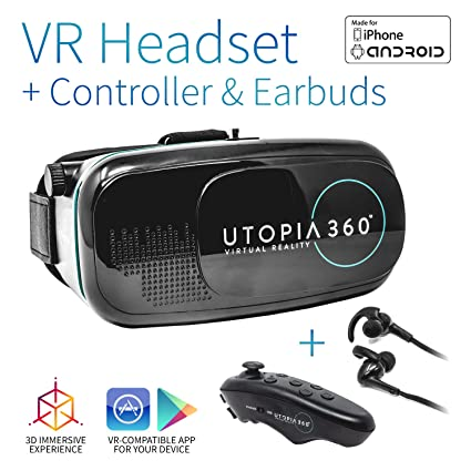 aeaa5f44ee7 Amazon.com  Utopia 360° VR Headset with Controller and Earbuds