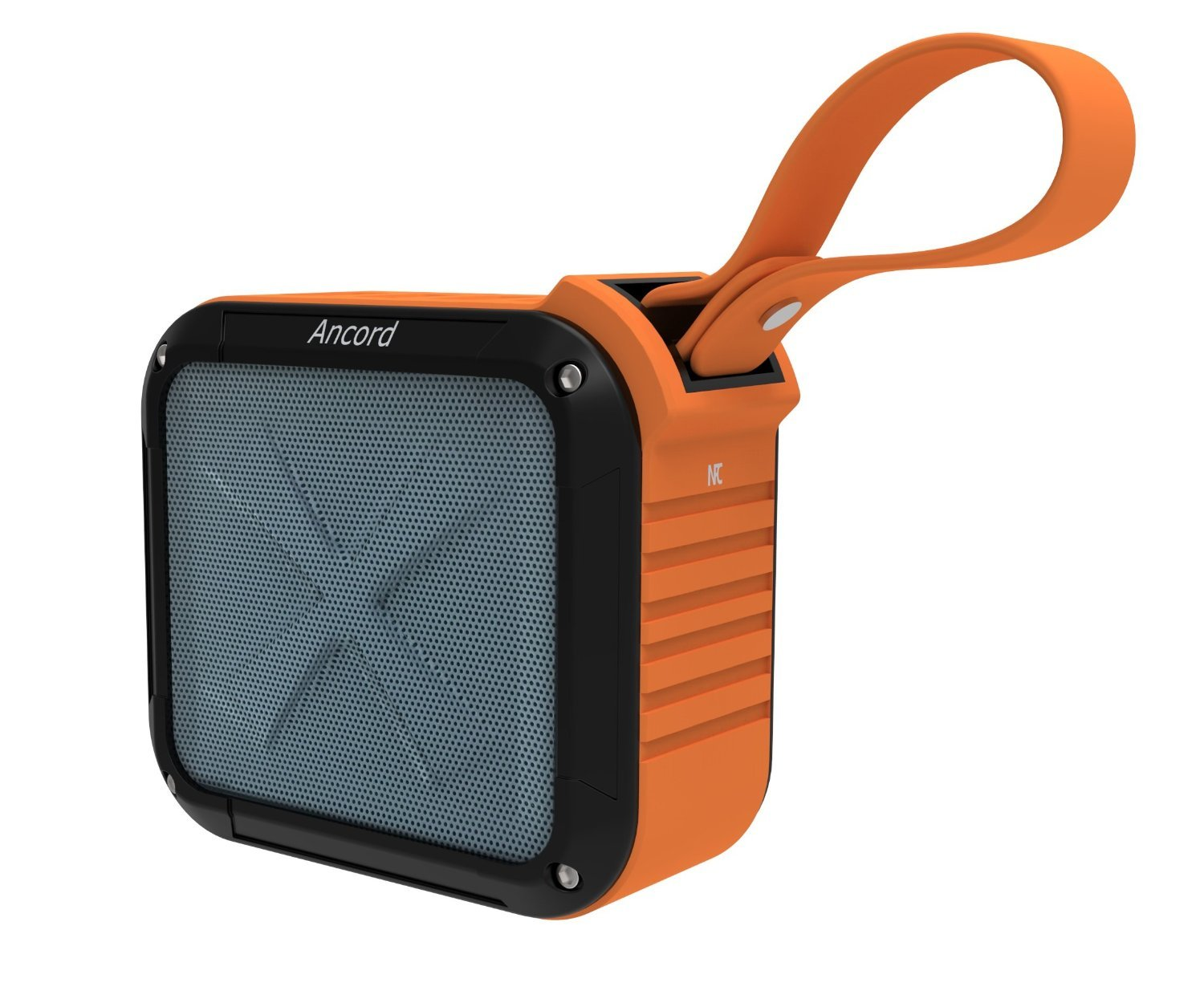 Ancord Waterproof Bluetooth Speaker with FM Radio IPX6 Portable for Outdoor 12 Hours Playtime Silicon Strap for Hanging (Orange) by Ancord