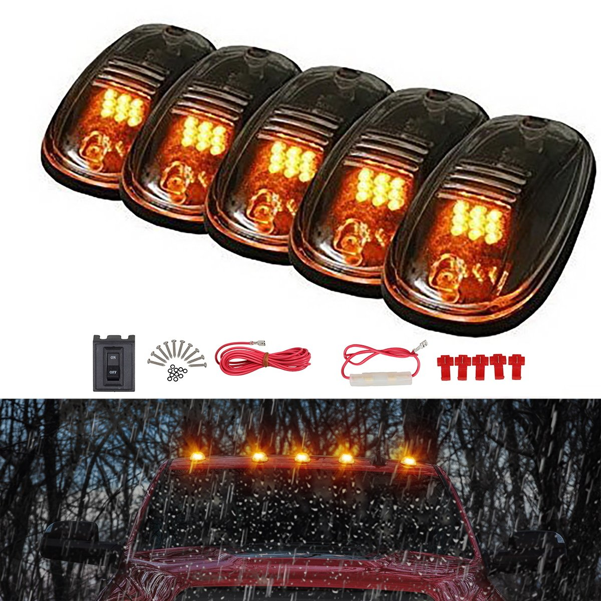 Partsam 5 x 264146BK Cab Roof Running Clearance Marker Lights Smoke Cover W Build-in Amber LED Replacement For 2003-2018 Dodge Ram 1500 2500 3500 4500 5500 Pickup Trucks With Stock Cab Light