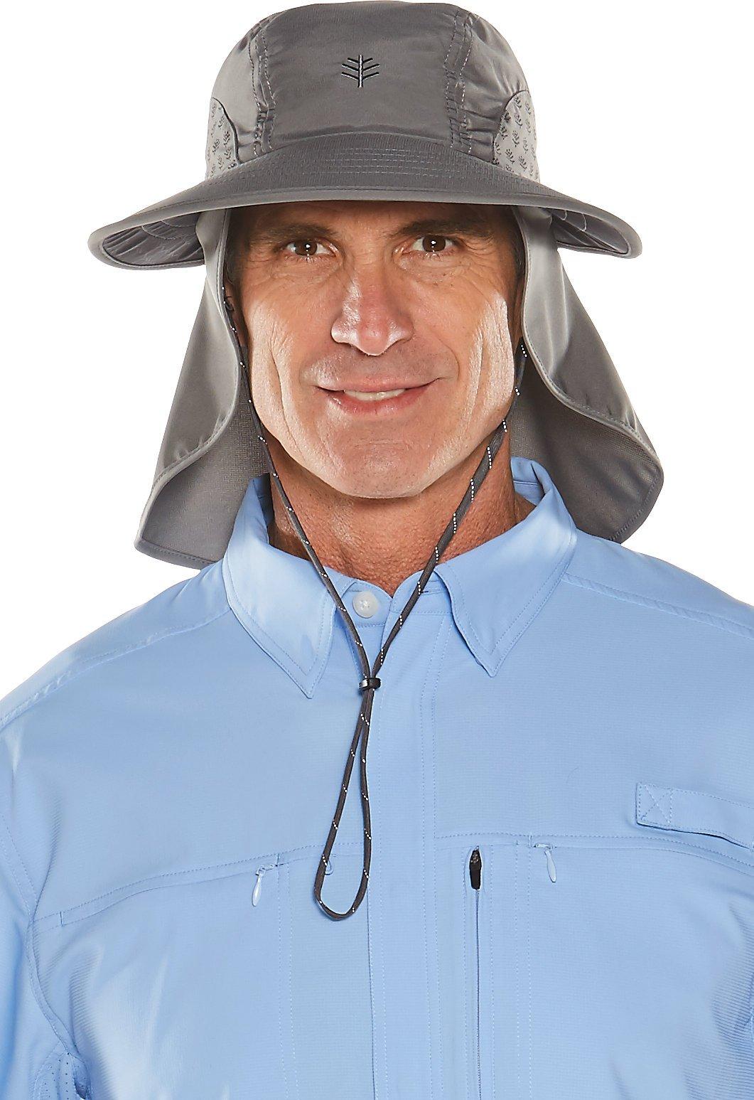 Coolibar UPF 50+ Women's Men's Explorer Hat - Sun Protective (Medium/Large- Woodland Grey)