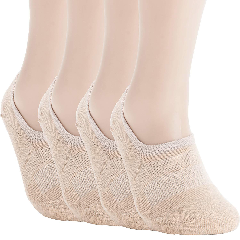 Pro Mountain No Show Socks - Athletic Cushion Cotton Sports Footies For Men (XL(US Men Shoe Size 10~12, size12), Beige 4 pairs Pack XL size) by Pro Mountain