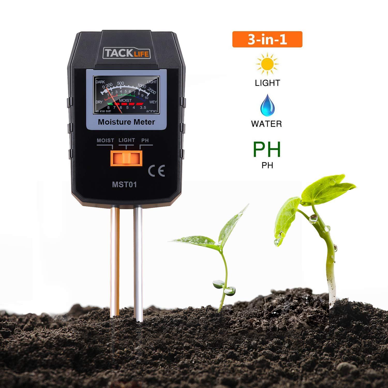 3 en 1 Suelo Tester, tacklife mst01 suelo medidor con tres Funció n: Medidor de humedad, luz solar de intensitä ts de metros y prueba de pH de suelo drenaje para cé sped, Granja, plantas y hierbas, un genauer y ú