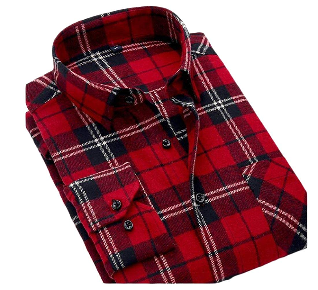 YUNY Mens Long Sleeve Button Slim Fitted Classic Plaid Vogue T-Shirts Pattern17 3XL