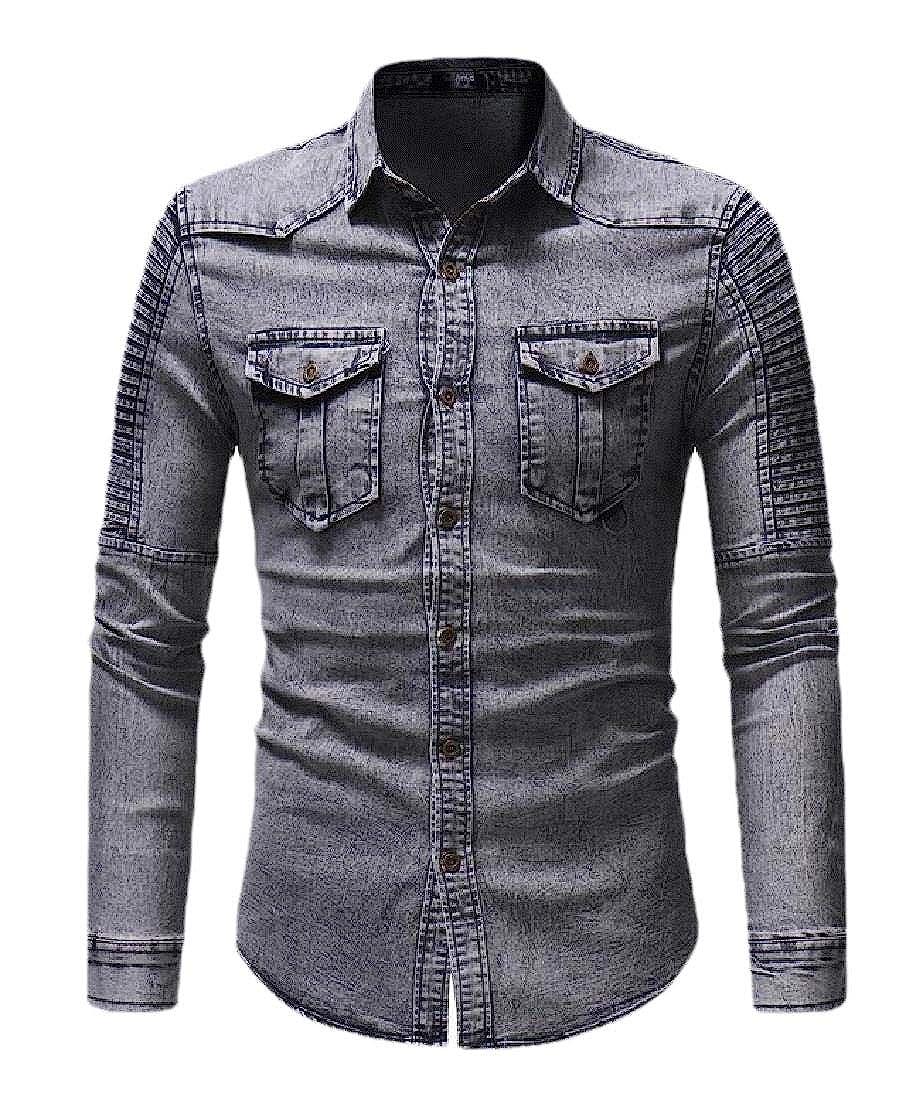 Wofupowga Mens Slim Long Sleeve Denim Button-Down Ruched Shirts