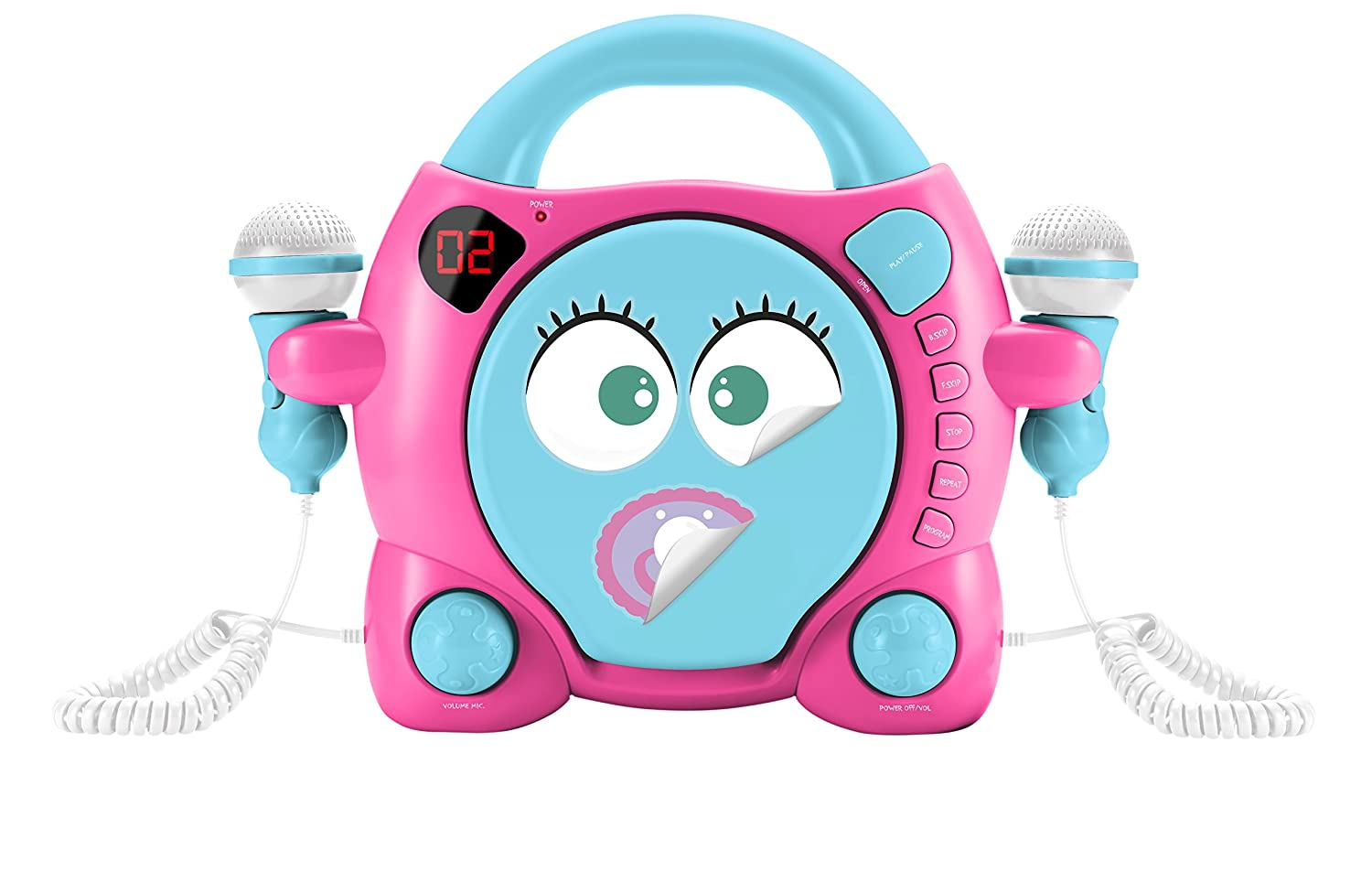 BigBen Interactive My MIA - Reproductor de CD con 2 micró fonos y 5 pá ginas de Stickers (LED, Conector de Auriculares, Funciones de repetició n y Programa, Volumen CD/Micro) Rosa y Azul Funciones de repetición y Programa CD59GIRLSSTIC