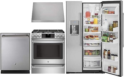 Amazon.com: GE Cafe 4 Piece Kitchen Package CZS22MSKSS 36 ...