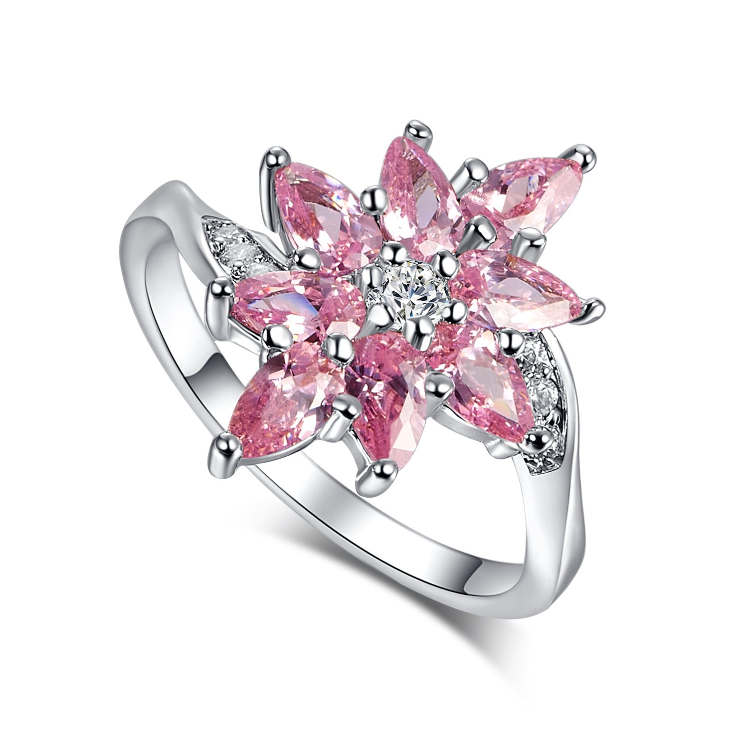 Psiroy 925 Sterling Silver Created Pink Topaz Filled Cluster Flower Anniversary Ring Size 8