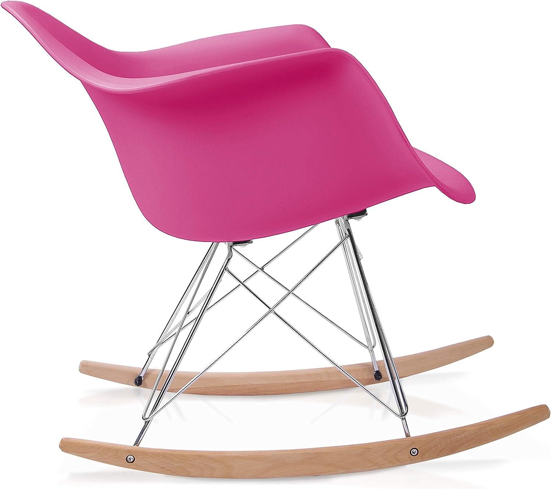 duehome Rocker - Silla Mecedora, Color Arena y Madera Haya, sillas balancin, Silla diseño nórdico, Medidas: 69,5 cm Alto x 63 cm Ancho x 65,5 cm Fondo Fucsia rjvAF2