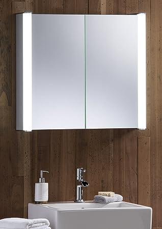 LED Beleuchteter Badezimmer Spiegelschrank 60 Cm X 65 Cm X 13 Cm  Durchmesser, Mit Rasiersteckdose
