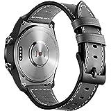 Kartice Compatible Ticwatch Pro/ fossil Q EXPLORIST バンド 22mm高級ソフトレザー製バンド Ticwatch Pro/Ticwatch 1通用交換ベルト (3-ブラック)