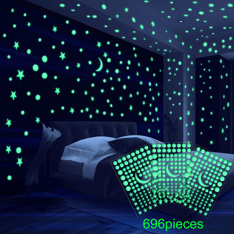 6 Foglio 3D Cupola Stelle Luminosa Adesivi da Parete Adatto per Bambini Biancheria da Letto Camera o Compleanno Regalo 696 Pezzi Adesivi Puntini Stella e Luna per il Cielo Stellato