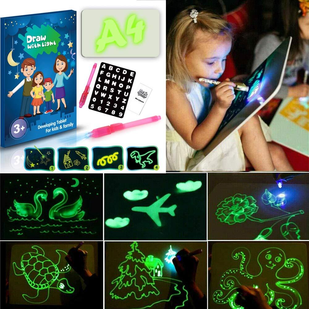 Cadeaux Jouets dapprentissage MISSLIU Planche /à Dessin Fluorescente Graffiti A3: 30 /× 43CM dessinez avec Un Plaisir de la lumi/ère et Un Crayon /à Dessin Magique pour Enfants