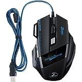 ZELOTES Gaming Mouse USB 5500 DPI, Mouse da Gioco con 7 Tasti, Mouse Ottico con Filo USB 2.0, per Gamer / PC / Mac [Versione Nuova]