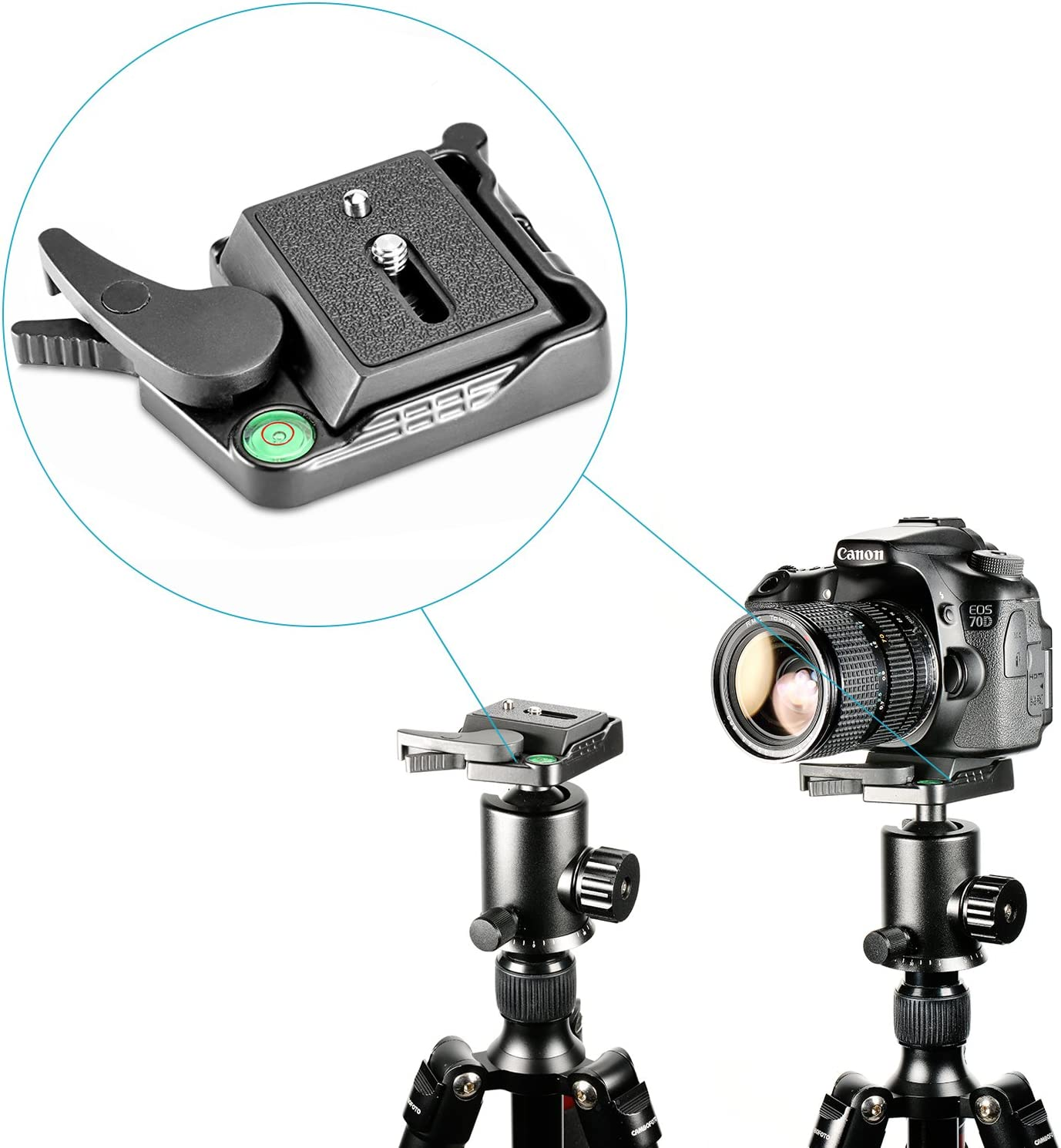 Neewer Black Aluminum Alloy Quick Release QR Plate Adapter with 1//4-3//8 Screw and Bubble Lever for DSLR Camera Tripod Monopod Stabilizer Ball Head