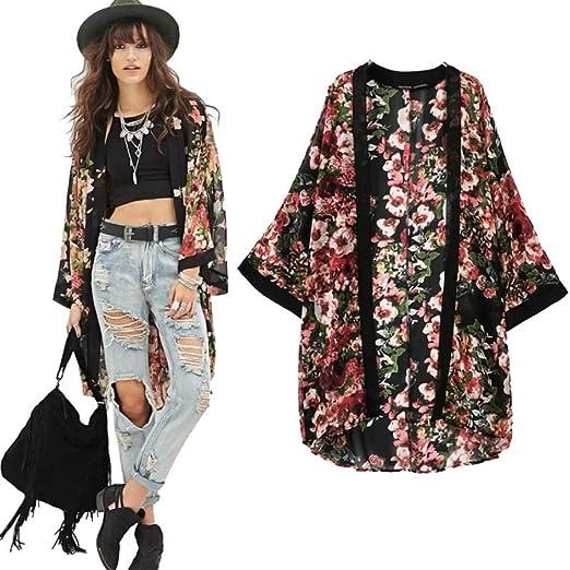 Lookatool Womenu0027s Flower Floral Print Chiffon Kimono Cardigan Jacket Blouse