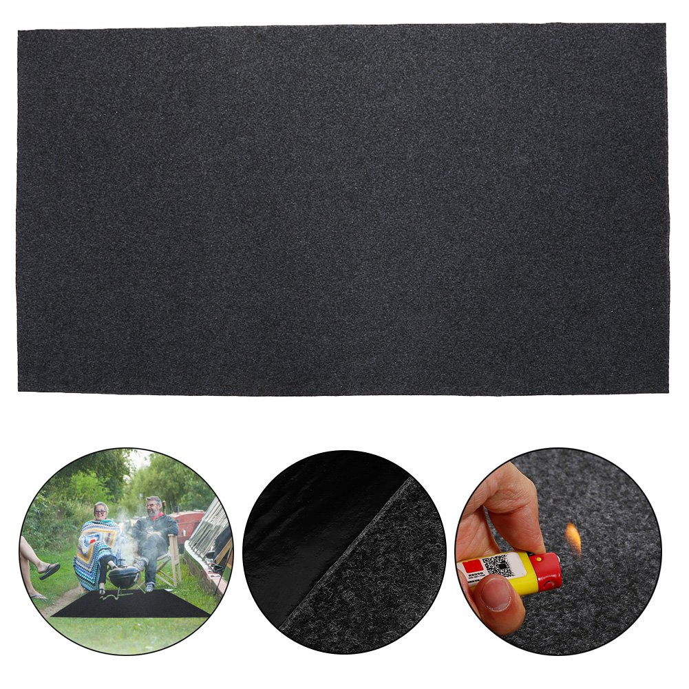 BBQ Grill Splatter Mat, Extra Large Fireproof Heat Resistant BBQ Gas or Electric Grill Splatter Mat Floor Protective Rug 48.81 x 29.53inch by Yosoo