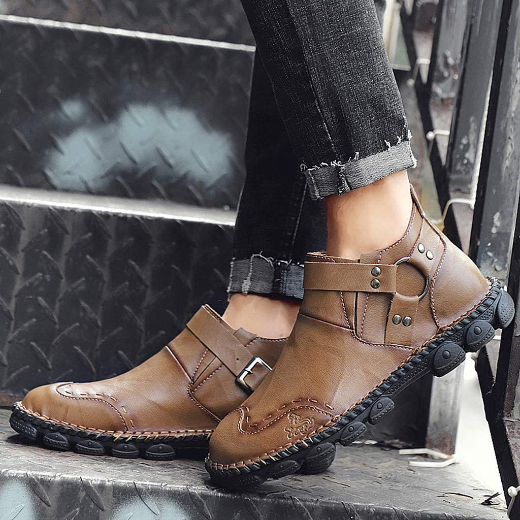 Mens Driving Casual Shoes Zipper Slip On Loafers Light-Weight Soft Comfortable Oxford Walking Shoes Goosun Low Ankle Boots Waterproof Work Rain Boot Hand-Stitched Casual Shoes